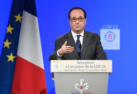 The U.S. ought not to quit commitments assumed by agreeing to the Paris Climate Agreement, stated French President François Hollande on November 15.