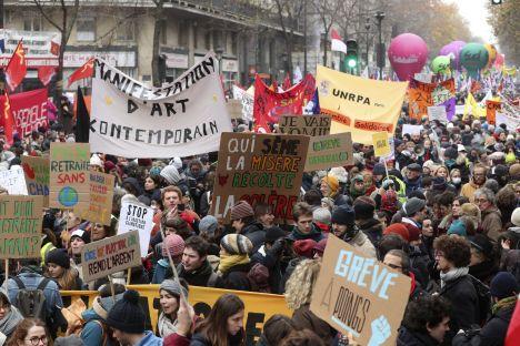 France, protests, pension reform, Emmanuel Macron