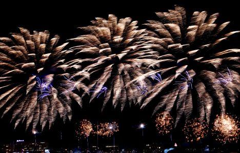 11 November Embankment, New Year's fireworks, Riga,